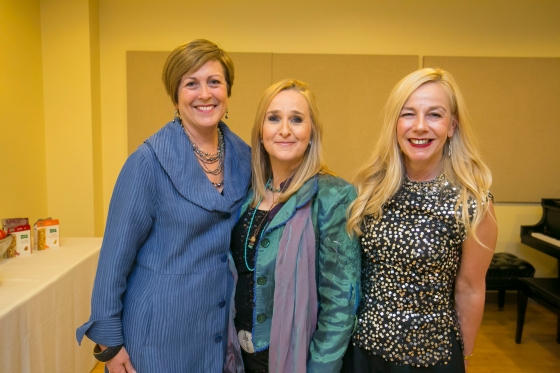 CSOA President Deborah Rutter joins Melissa Etheridge and League of the CSO Corporate Night Event Chair Jennifer Bumbu_credit Todd Rosenberg