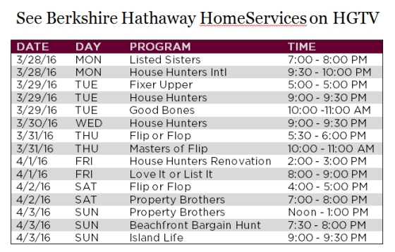 BHHS TV Schedule 3-28